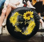 Jeep girl sunflower heart yellow spare tire cover