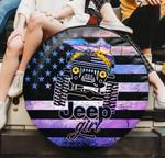 Jeep girl purple American flag spare tire cover