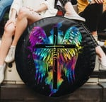 Amazing tie dye Faith cross wings spare tire cover