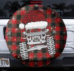 Merry Christmas Jeep red black spare tire cover