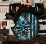 Jeep skull under flag blue black spare tire cover