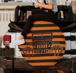 Jeep Halloween skeleton hand orange black spare tire cover