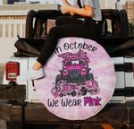 In October we wear pink Jeep girl breast cancer awareness spare tire cover