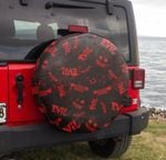 Jeep evil Halloween black red spare tire cover