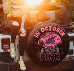 Jeep girl breast cancer awareness pink black spare tire cover