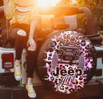 Jeep girl pink black leopard pattern spare tire cover
