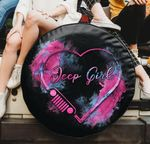 Jeep girl heart pink smoke spare tire cover