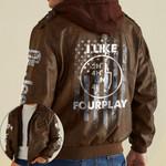 Jeep I Like Four Play Funny Offroad custom name Leather Jacket Hooded #KV