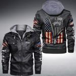 Jeeps Zipper American Flag custom name Leather Jacket Hooded #KV