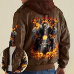 Biker Skull Hell Riders Ride or Die custom name Leather Jacket Hooded #KV