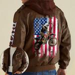 Biker American Flag custom name Leather Jacket Hooded #KV