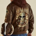 Skull I Don't Ride My Own Bike custom name Leather Jacket Hooded #KV