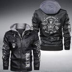 Skull Biker Motor Spirit Ride Or Die custom name Leather Jacket Hooded #KV