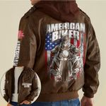 Skull American Biker custom name Leather Jacket Hooded #KV