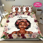 Black queen Flower Personalized Name Duvet Cover Bedding Set #18DH