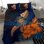 Polynesian Turtle Hibiscus And Plumeria Duvet Cover Bedding Set #V