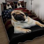Pug Dog American Flag Duvet Cover Bedding Set #V