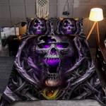 Satanic Skull Tattoo purple Duvet Cover Bedding Set #V