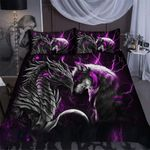 Purple dragon & wolf light Duvet Cover Bedding Set #V
