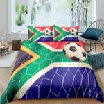 South Africa Flag Soccer Goal, Football Personalized Name Duvet Cover Bedding Set #V