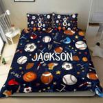 Sport Pattern Black Soccer, American Football, Basketball...Duvet Cover Bedding Set #1101L