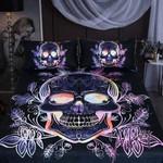 Skull Tattoo Flower Color Duvet Cover Bedding Set #V