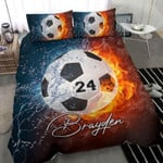 Soccer Fire Personalized name Duvet Cover Bedding Set #1405H