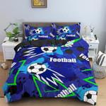 Soccer Blue, Football Personalized Name Duvet Cover Bedding Set #V