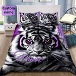 Tiger Light Purple Personalized Name Duvet Cover Bedding Set $V