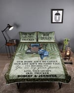 Trucker Couple King to My wife, you're my queen forever Quilt Bed Set gift for valentine day #46v