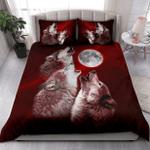 Tattoo Wolf Moon Red Duvet Cover Bedding Set #V