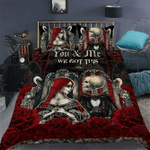 You And Me We Got This Skull Rose Couple Quilt Bed Set #V