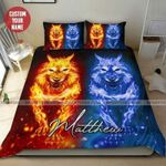 Wolf Fire Personalized Name Duvet Cover Bedding Set #185H