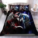 Wolf & raven Blue red Duvet Cover Bedding Set #V