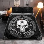 Viking skull tattoos Till valhalla nevr kneel Quilt Bed Set #V