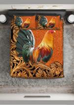 Vintage Rooster On Beautiful Farm Quilt Bedding Set #V
