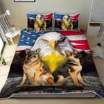 Veteran day American Flag Eagle German Shepherd Soldier Quilt Bed Set #V
