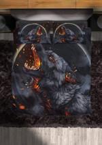 Viking Tattoo Fire Flaming Wolf of Odin Duvet Cover Bedding Set #V