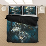 Wolf & Moonlight Personalized Name Duvet Cover Bedding Set #H