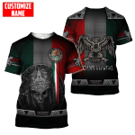 Mexico Aztec Warrior Day Of The Dead Custom Name Unisex AOP T-shirt