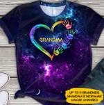 Custom name Grandma with kids galaxy unisex t-shirt 3d