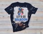 Let's Go Brandon Messy Bun America Flag Bleached T-shirt 2D #KV