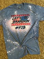 Let's Go Brandon America Flag Bleached T-shirt 2D #KV