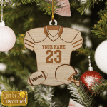 Football Love Custom Name And Number Ornament