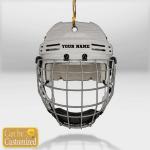 Hockey Helmet Grey Custom Name Ornament
