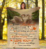 Swan couple, to my husband I love you gift for valentine day Fleece Blankets #V