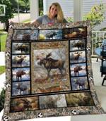 Hunting Moose Hunter Quilt Blanket #V