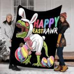 Happy Easter Fluffy Bunny Dinosaur T-rex Blanket #V