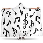 Music Notes White Art Hooded Blanket