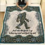 Hippie Bigfoot Camping Custom Text Quote Quilt Blanket #DH
